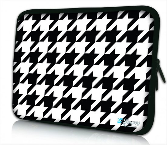 bol   laptophoes 14 inch zwart wit patroon - sleevy