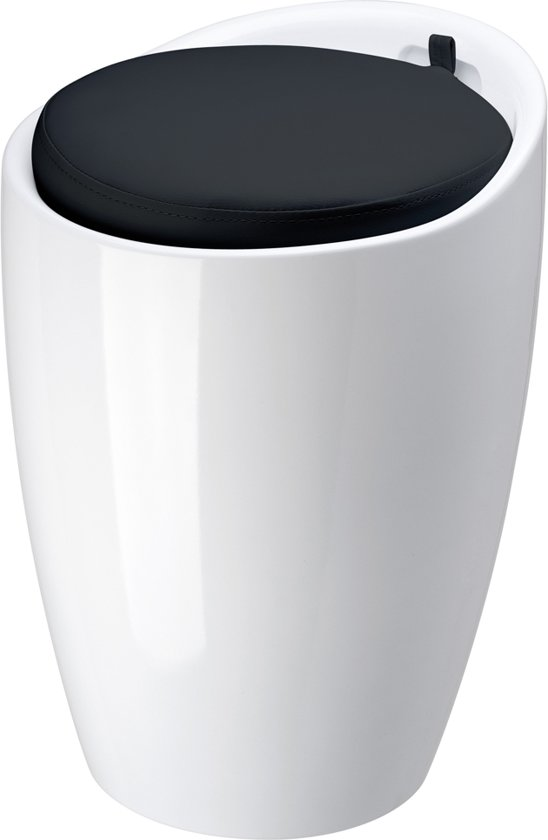 bol.com | Wasmand,poef,zitje ,Badkamer stoel 24x50cm wit met zwarte ...