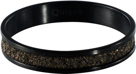 Quiges Stapelring Ring - Vulring Bruin Glitter - Dames - RVS zwart - Maat 19 - Hoogte 4mm