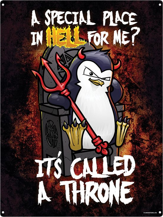 Wandbord - Psycho penguin a special place in hell -30x40cm-
