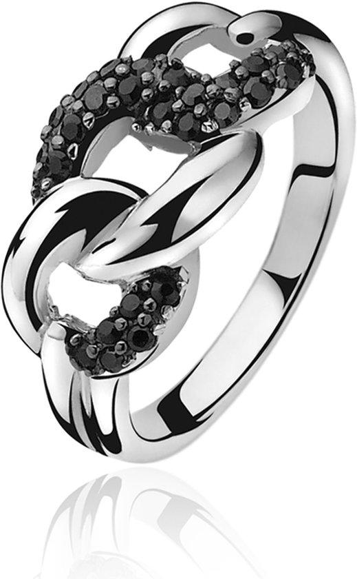 Zinzi - Zilveren Gourmet Ring - Zirkonia - Zwart - Maat 56 ZIR791-56