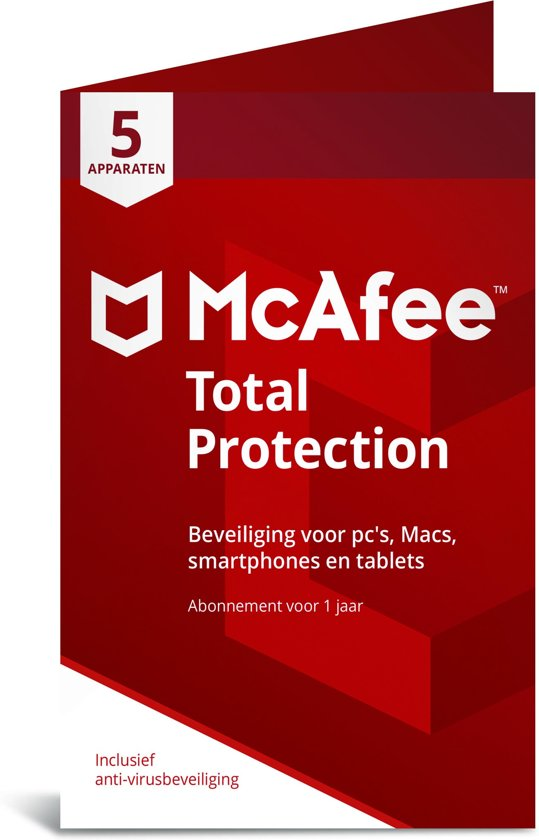 McAfee Total Protection - Multi-Device - 5 Apparaten - 1 Jaar - Nederlands - Windows / Mac Download
