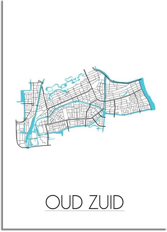 Plattegrond Oud Zuid Amsterdam Stadskaart poster DesignClaud - Wit - A2 poster