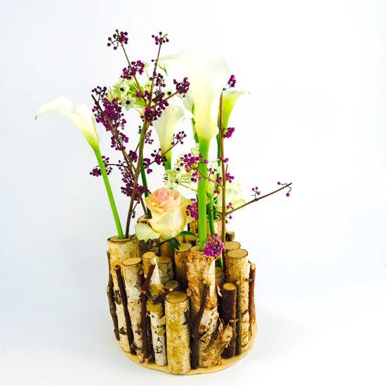 Vaas van berkenstammenrond hout object