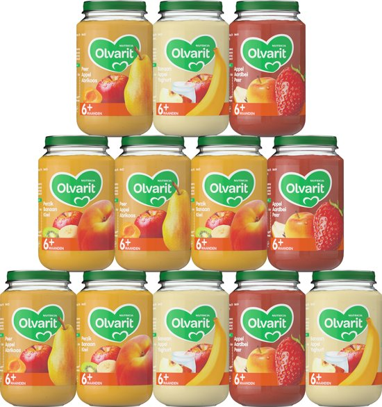 Olvarit Variatiemenu Fruit - 6 maanden - 12 stuks