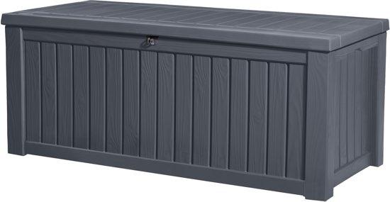Keter - Rockwood opbergbox - 570 L - 155 x 65 x 72 cm - Kunststof - Antraciet