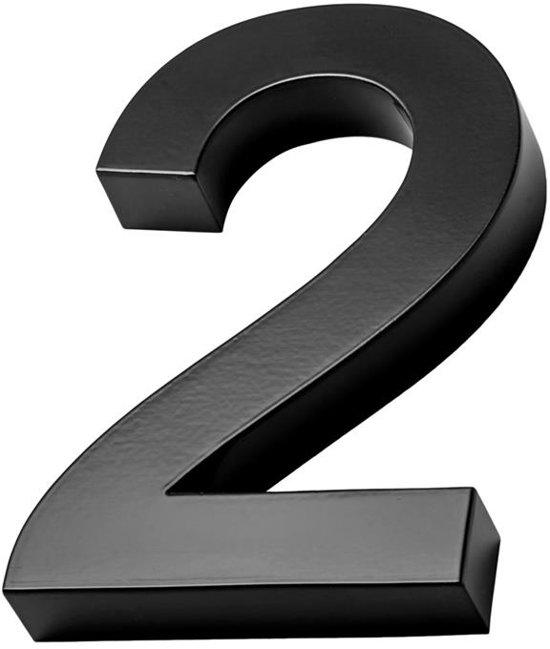 Xaptovi 3D Huisnummer 2 Materiaal: RVS - Hoogte: 20cm - Kleur: Zwart