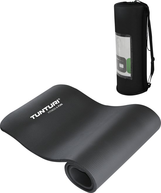 Tunturi NBR - Fitnessmat met Draagtas - 180 cm x 60 cm x 1.5 cm -  Zwart