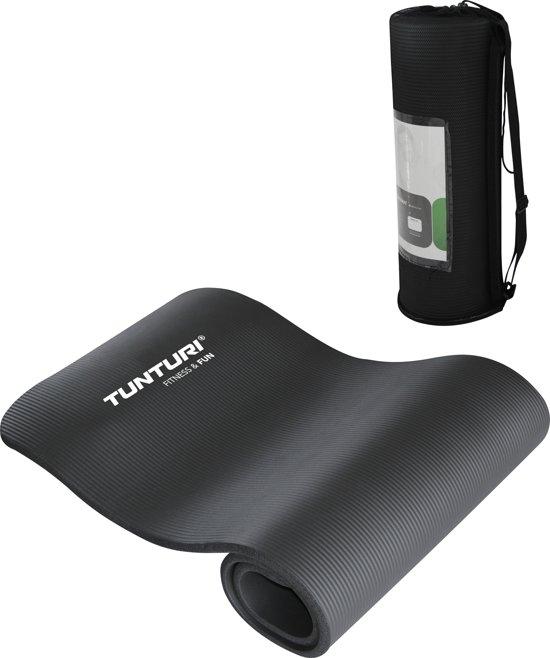 Tunturi NBR - Fitnessmat - Oefenmat met Draagtas - 180 cm x 60 cm x 1.5 cm -  Zwart