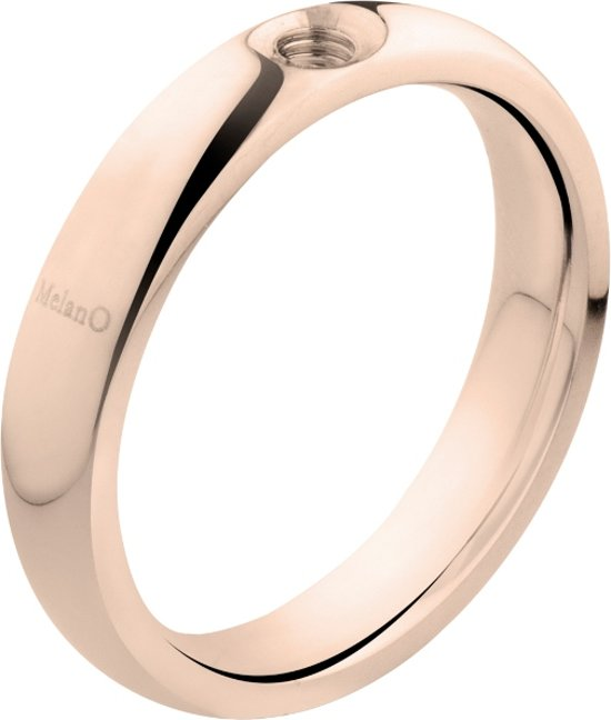Melano twisted Tracy ring - Roségoudkleurig - Dames - Maat 56