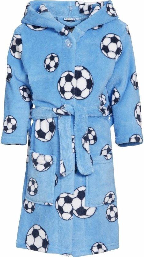 Blauwe badjasochtendjas met voetbal print voor kinderen. 98104 (4 5 jr)