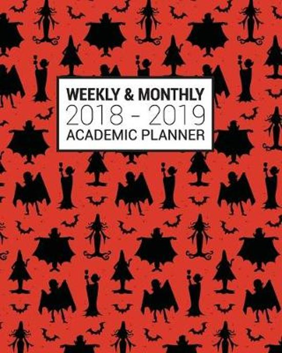 2018-2019 Academic Planner Weekly And Monthly: Calendar Schedule Organizer and Journal Notebook With Inspirational Quotes Halloween Pattern