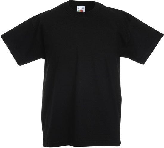 Fruit of the Loom T-shirt Kinderen maat 116 (5-6) 100% katoen 5 stuks (Zwart)