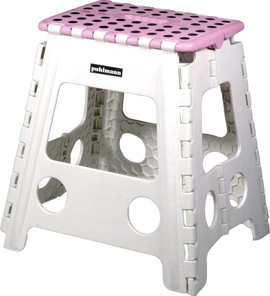 PUHLMANN - JAMES XL foldable stool PK, Foldable stool xl/plastic /pink/white