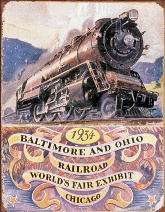 1934 Baltimore an Ohio Railroad world's fair exhibit Chicago, Metalen wandbord 31.5x41.5cm