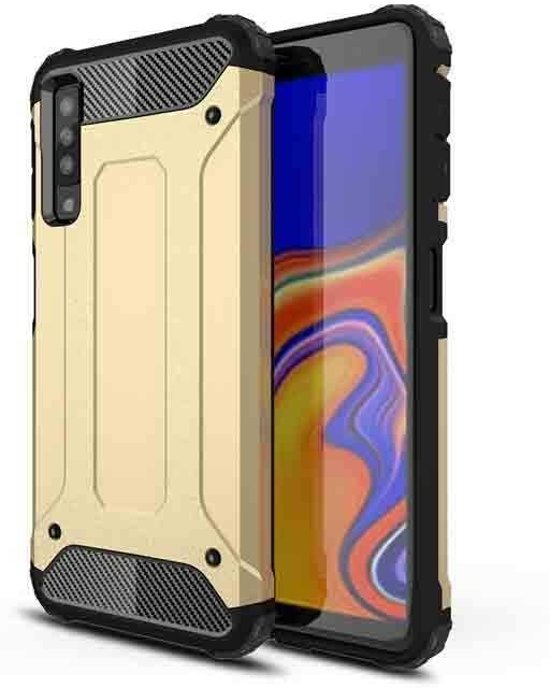 Teleplus Samsung Galaxy A30s Case Double Layer Tank Cover Gold hoesje