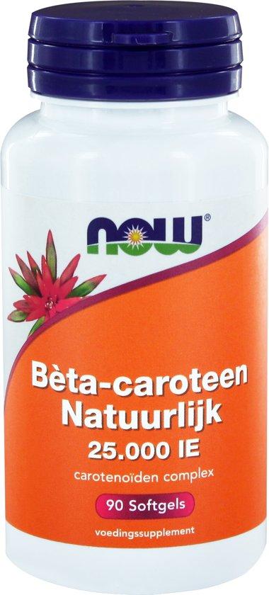 NOW Bèta-caroteen Natuurlijk 25.000 IE 90 softgels