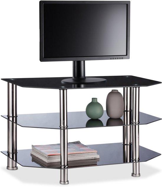 Zwarte Kast Met Glas.Bol Com Relaxdays Tv Meubel Glas Televisietafel Zwart Lowboard