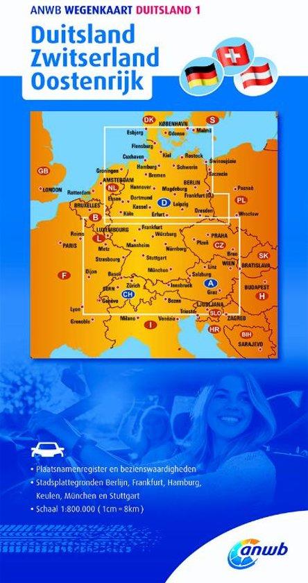 ANWB wegenkaart Duitsland 1 Duitsland/Zwitserland/Oostenrijk