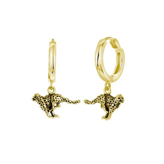Lucardi Oorbellen - Zilveren oorbellen goldplated luipaard