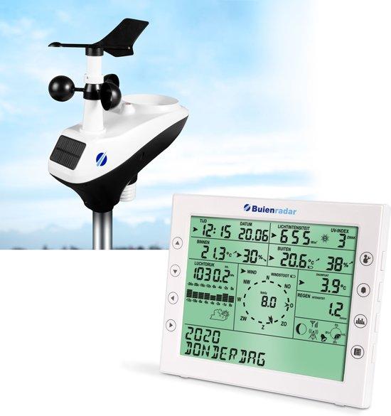 Buienradar BR-1800 Weerstation   Met thermo-, hygro-, regen-, windrichting-en windsnelheidsmeter powered door zonnepaneel   Wit / Zwart