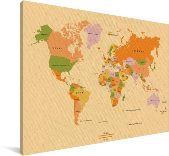 Kleurrijke wereldkaart op een lichtgroene achtergrond Canvas 140x90 cm - Foto print op Canvas schilderij (Wanddecoratie woonkamer / slaapkamer)