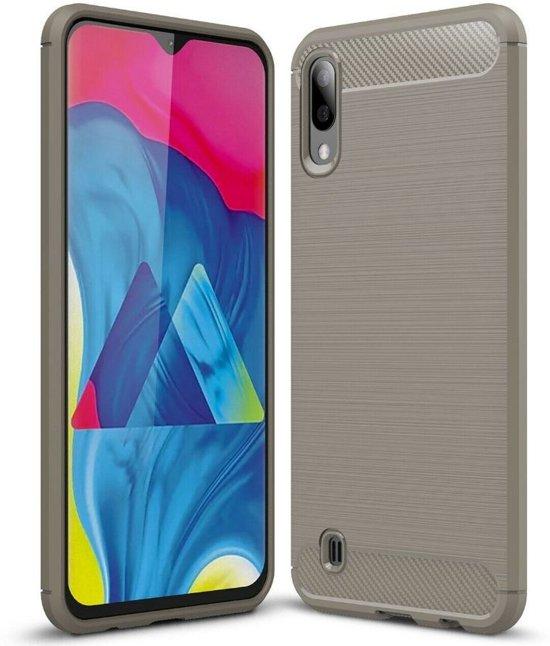 Teleplus Samsung Galaxy A10 Custom Carbon Silicone Case Gray + Nano Screen Protector hoesje
