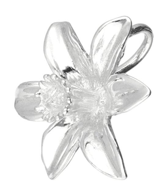 Zilveren Narcis ketting hanger