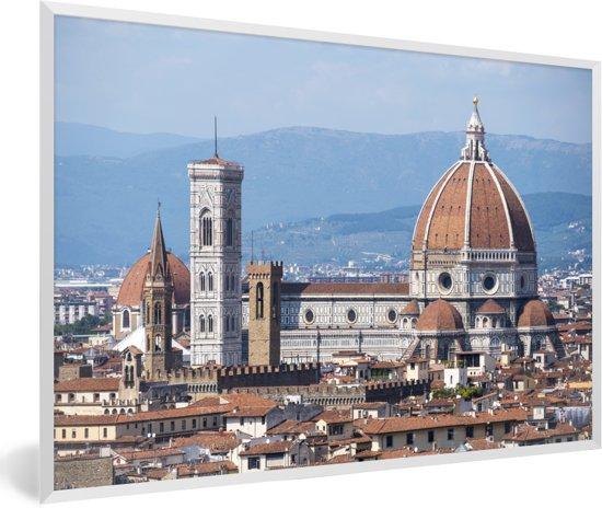 Foto in lijst - Panorama van de Dom van Florence fotolijst wit 60x40 cm - Poster in lijst (Wanddecoratie woonkamer / slaapkamer)