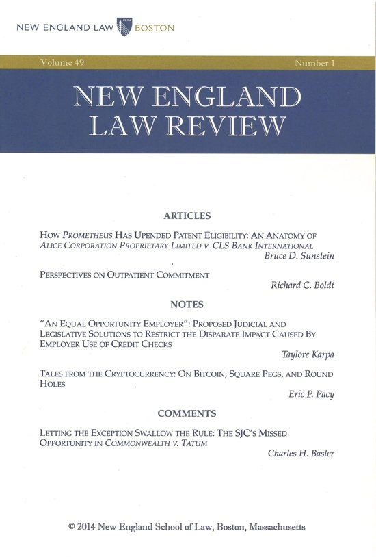 New England Law Review: Volume 49, Number 1 - Fall 2014