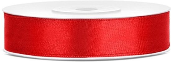 Satijn lint rood 12mm/rol 25m