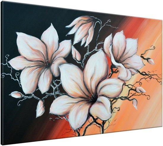 Schilderij handgeschilderd Magnolia   Bruin , Zwart , Oranje   120x70cm 1Luik
