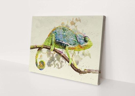 kameleon | Polygon Art | Canvasdoek | Wanddecoratie | 90CM x 60CM | Schilderij | Foto op canvas