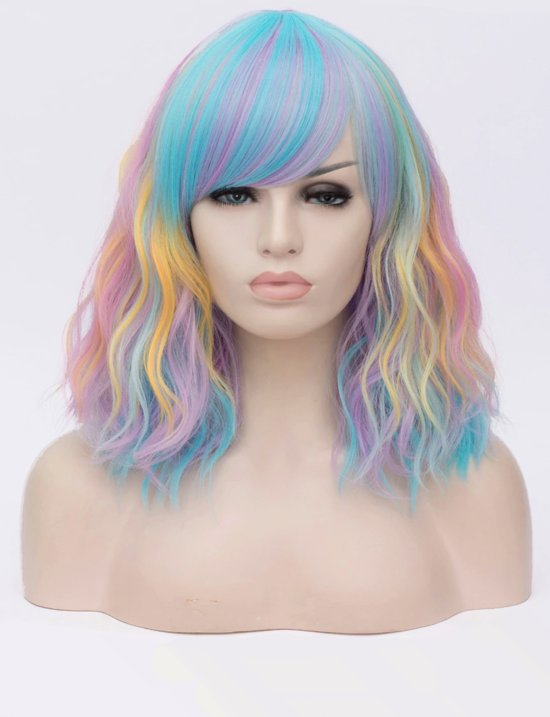 KIMU luxe pastel regenboog pruik schouderlengte met schuine pony krullen - unicorn eenhoorn