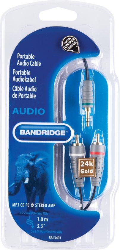 Bandridge 3,5 mm naar RCA Kabel 1 Meter