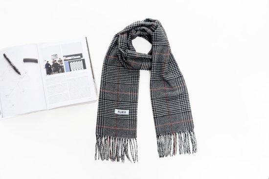 a205e82627e ... Heren winter sjaal met ruit | grijs rood zwart | langwerpig | warm |  mannen ...