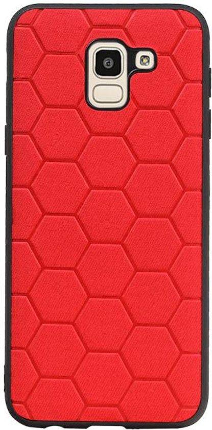 Wicked Narwal | Hexagon Hard Case voor Samsung Samsung Galaxy J6 Rood