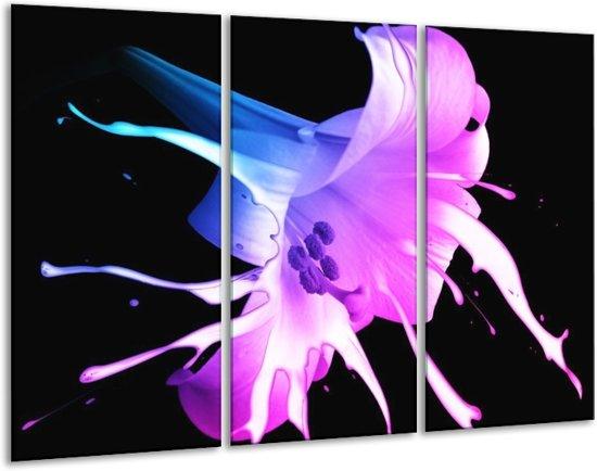 Glasschilderij Bloem | Zwart, Paars, Blauw | 120x80cm 3Luik | Foto print op Glas |  F004143