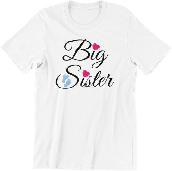 Kinder T-shirt 6jr: Big Sister - Grote Zus - wit