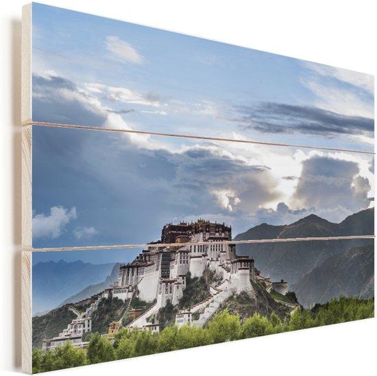 Het Potalapaleis met op de achtergrond mooie wolken en de bergen Vurenhout met planken 60x40 cm - Foto print op Hout (Wanddecoratie)