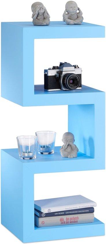 relaxdays retro kastje kleurrijk zigzag design boekenkast smalle kast open ontwerp blauw