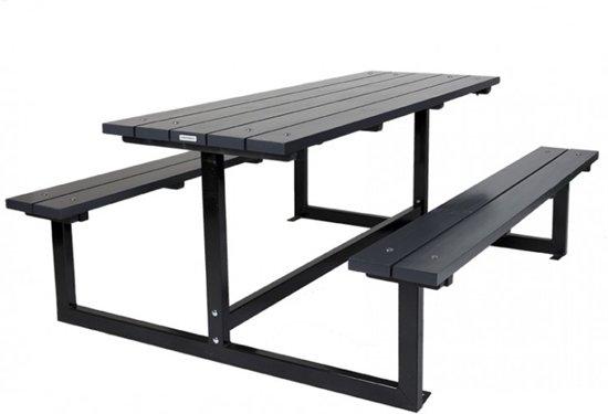 MaximaVida picknicktafel design 180 cm antraciet- metalen onderstel met grondbevestiging