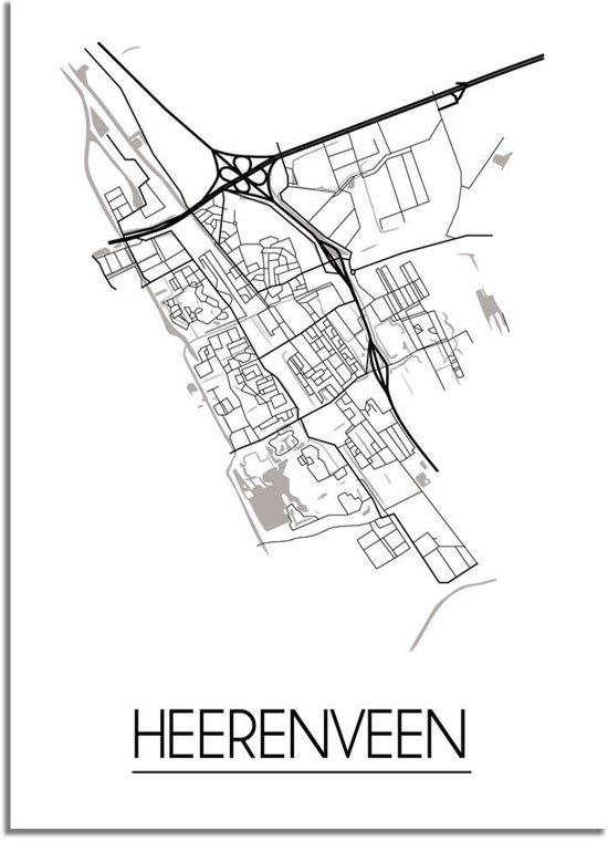 DesignClaud Heerenveen Plattegrond poster A3 poster zonder fotolijst