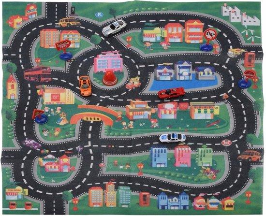 Speelkleed race circuit met 4 racewagens