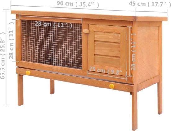 vidaXL Konijnenhok voor buiten - 90 x 45 x 65,5 cm - Bruin