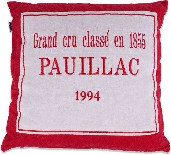 In The Mood Pauillac - Sierkussen - 50x50 cm - Rood/ecru