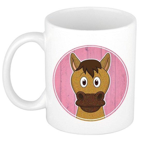 1x Paarden beker / mok - 300 ml keramiek - paard dieren bekers voor kinderen