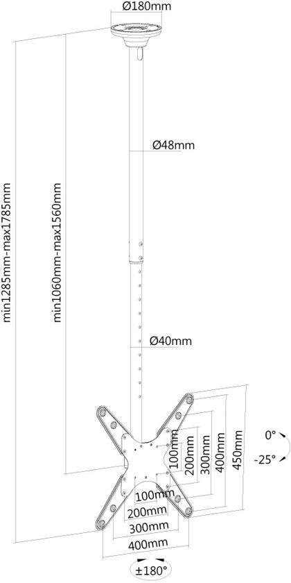 NewStar FPMA-C340BLACK flatscreen plafondsteun