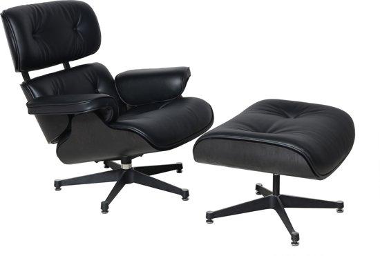 Leren Fauteuil Design.Bol Com Lederen Eames Design Lounge Chair Fauteuil In Zwart
