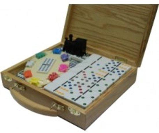 Afbeelding van het spel Domino dubbel 12 Mexican Train in houten kist